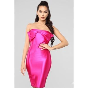 Fashion Nova Tropical Pink Bow Tube Midi Dress NWT